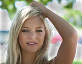 Blonde haired model with green eyes. — Stock Photo