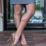 High heels on paver blocks — Stock Photo