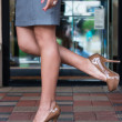 Stock Photo: High heels on paver blocks