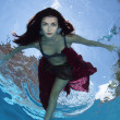 Stock Photo: Womunder water at some depth