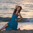 Foto Stock: Womin blue dress