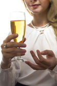 Woman with champagne glass — Stock Photo