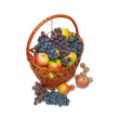Fruit in a wattled basket, a still-life. — Stock Photo