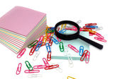 Magnifier, Still-life, Office, Paper, Paper clip. — Stock Photo