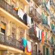 Stock Photo: Barcelonbalconies with laundry