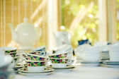 Retro tea set pot and cups — Stock Photo