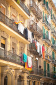 Barcelona balconies with laundry  — Stock Photo