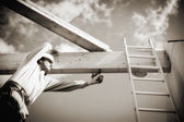 real construction worker on construction site — Stock Photo