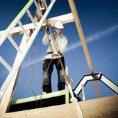 Authentic Builder with ladder and winch — Stock Photo