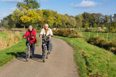 Senior couple on a bicycle — Stock Photo