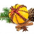 Christmas clove and orange pomander — Stockfoto #14961449