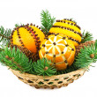 Christmas decoration with oranges in the basket and fir tree — ストック写真