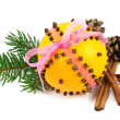 Christmas clove and orange pomander - Stock Photo