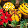 Christmas decoration with oranges and fir tree — Lizenzfreies Foto