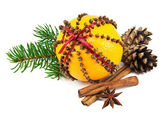 Christmas clove and orange pomander — Stok fotoğraf