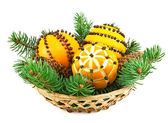 Christmas decoration with oranges in the basket and fir tree — Stockfoto