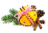 Christmas clove and orange pomander — 图库照片