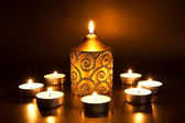 Closeup of burning candles — Stock Photo