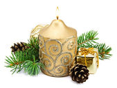 Christmas decoration with golden candles — Stockfoto
