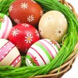 图库照片: Easter eggs in basket