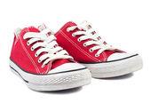 Vintage kırmızı ayakkabılar — Stok fotoğraf