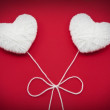 Two white hearts made from wool — Stock Photo