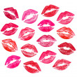 Set of beautiful red lips — Stock fotografie