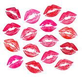 Satz von schönen roten lippen — Stockfoto
