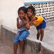 Two young girls posing outside in Siem Reap, Cambodia — Foto Stock