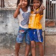 Two young girls posing outside in Siem Reap Cambodia — Stock Photo