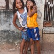 Two young girls posing outside in Siem Reap Cambodia — Lizenzfreies Foto