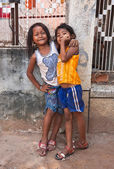 Two young girls posing outside in Siem Reap Cambodia — ストック写真