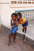 Two young girls posing outside in Siem Reap, Cambodia — Stok fotoğraf
