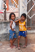 Two young girls posing outside in Siem Reap Cambodia — Foto Stock