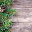 Christmas fir tree on a wooden background — Stock Photo