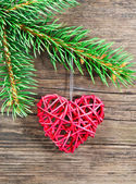 Christmas decoration on a wooden background — Foto de Stock