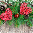 Christmas decoration on a wooden background — 图库照片