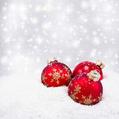 Three red christmas balls — Foto de Stock