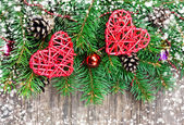 Christmas decoration on a wooden background — Stock Photo