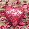 Stock Photo: Red heart shaped candle
