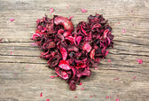 Red heart shape made from flower petals — Stockfoto