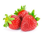 Strawberries with leaves on a white background. — Stockfoto