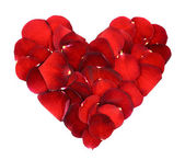 Heart of red rose petals — Stock Photo