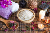 Spa with natural bath salt — Stock Photo