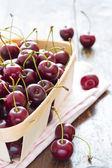 Fresh red cherries in bowl  — Stock Photo