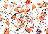 Background of multicolor pencil shavings — Stock Photo