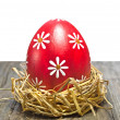 Colorful easter egg in the nest — Stock Photo #9473914