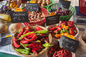 Peppers on a farm stand — Stock Photo