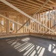 Stock Photo: New house interior framing