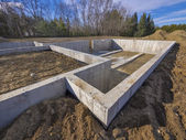 Concrete foundation for a new house — Stockfoto